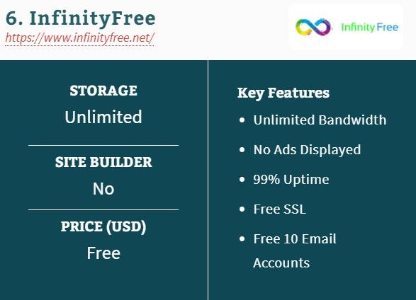 6. InfinityFree