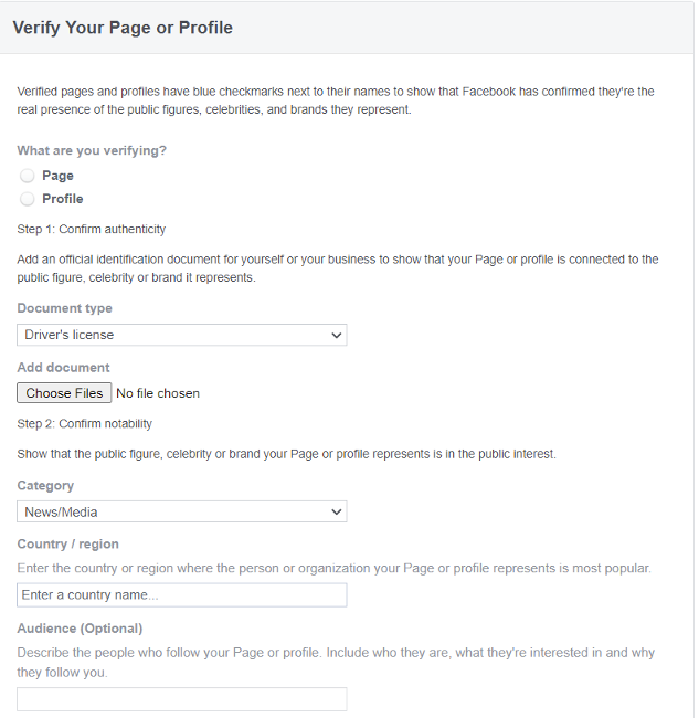Facebook'un Çevrimiçi Formunu